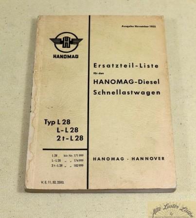 Hanomag L 28 , 2 t L 28 , Ersatzteilliste von 1952