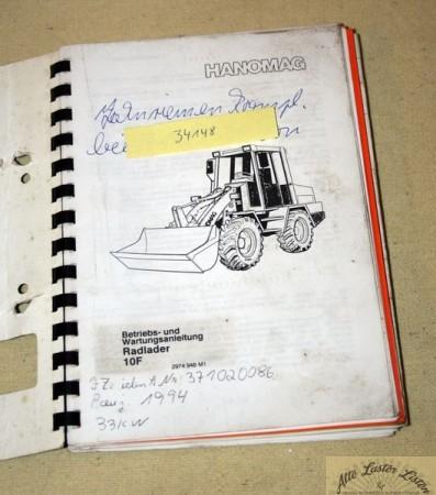 Betriebsanleitung Hanomag 10 F Radlader